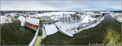 Панорама Правдинской ГЭС-3 Калининградской области зимой