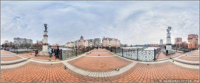 Юбилейный мост в Калининграде - панорамный вид