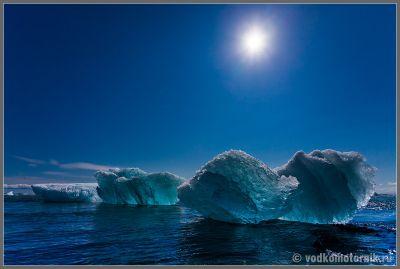Исландия. Океан около Ледяной лагуны.