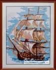 Вышивка крестом - парусник, барк, яхта - hand made