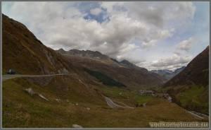 Перевал в Альпах Furka pass - трасса
