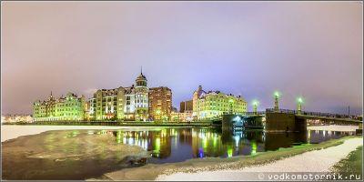 Мост Кайзербрюкке в Калининграде - панорамный вид