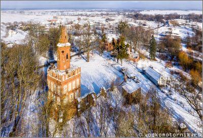 Кирха Христа в посёлке Чехово - с высоты