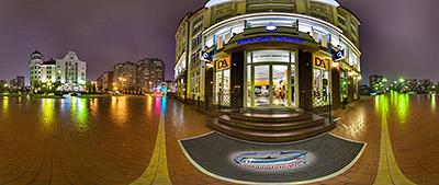 Панорама 360° Бизнес центр на острове ночью