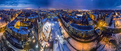 Аэропанорама 360° Кирха Святого семейства г. Калининград