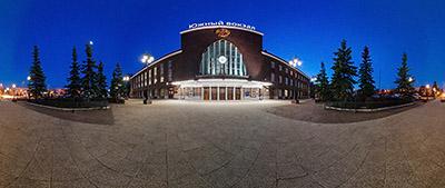 Панорама 360° Южный вокзал в Калининграде ночью и днем