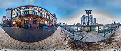 Панорама 360° Рыбная деревня в межсезонье в Калининграде