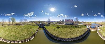 Аэропанорама 360° шлюз №1 Преголя в поселке Знаменск