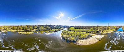 Аэропанорама 360° плотины на реке Лава