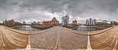 Панорама 360° Вид c моста Медовый в Калининграде