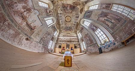 Панорама 360° церкви Николая Чудотворца в Комарице