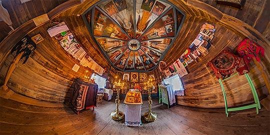 Панорама 360° часовни Николая Чудотворца в Усть-Поча