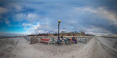 Променад п. Янтарный после осенне-зимних штормов - панорама 360°