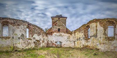 Панорама 360° 3D тур - руины кирхи Борхерсдорфа в Зеленополье