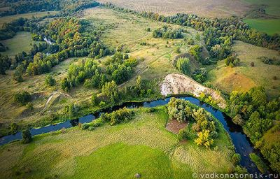 Излучина реки Анграпа - 3D панорама аэросъемка