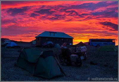 Исландия - Раннее утро в кемпинге Аскья
